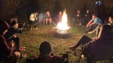 End of the semester fire pit hang out at the Pierces!